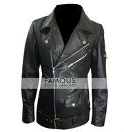 America Flag Women Black Motorcycle Leather Jacket
