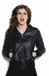 Alexandra Daddario Stylish Black Bomber Designer Jacket